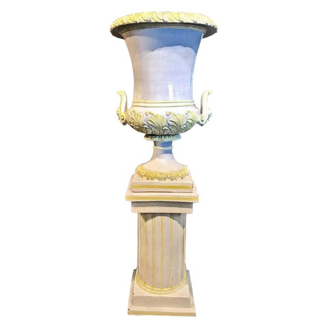 Italian Glazed Terra Cotta Urn on Pedestal For Sale - Image 10 of 10