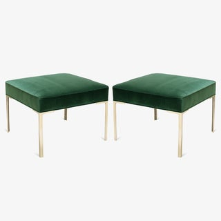 Astor Square Brass Ottomans in Emerald Velvet by Montage, Pair Preview