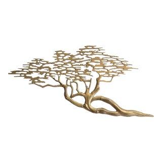 Vintage Bijan Brass Cypress Tree Wall Sculpture For Sale