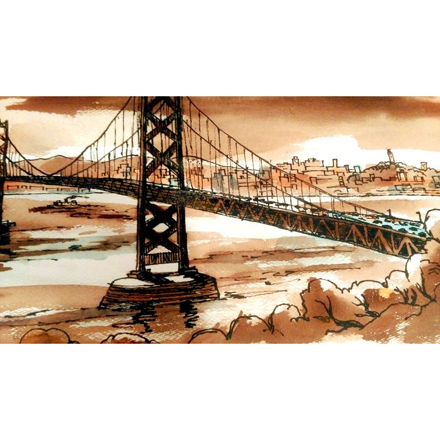 Vintage Golden Gate Bridge Watercolor Painting - Image 4 of 7
