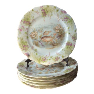 Antique Imperial Austrian Fish Plates With Floral Borders For Sale