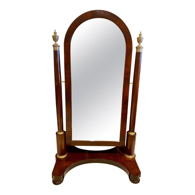 French Restauration Mahogany and Bronze Mounted Cheval Mirror For Sale