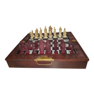 Chinese Vintage Eight Fairy Chess Set With Mahogany Wood Carrying Case For Sale