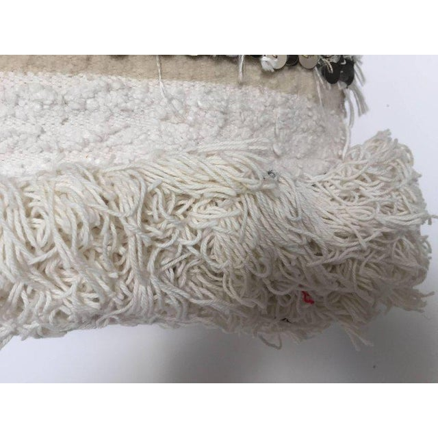 White Moroccan Wedding Pillow With Silver Sequins and Long Fringes For Sale - Image 8 of 10