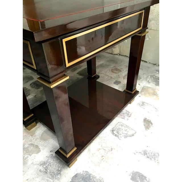 Jacques Adnet Jacques Adnet Exceptional Neoclassic Large President Desk With Leather Top For Sale - Image 4 of 7