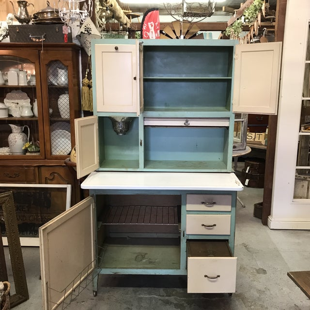 American Early American Hoosier Style Kitchen Cabinet For Sale - Image 3 of 11