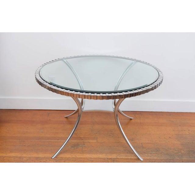 Metal Thinline Polished Aluminum Klismos Table For Sale - Image 7 of 9
