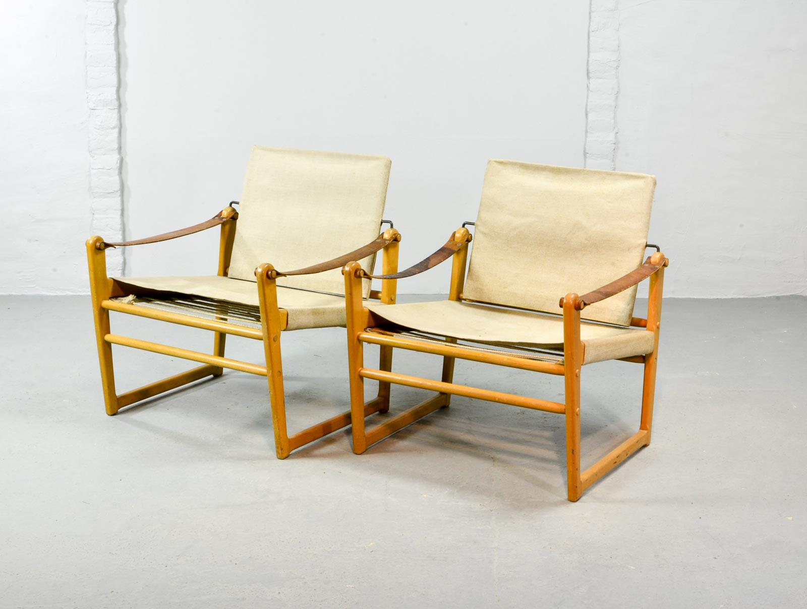 Pair Of Mid Century Swedish Design Safari Chairs By Bengt Ruda For Ikea,  1960s