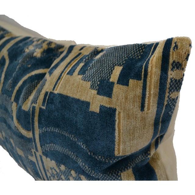 2010s Luigi Bevilacqua of Milan Blue Art Deco Velvet Lumbar Pillows - a Pair For Sale - Image 5 of 12
