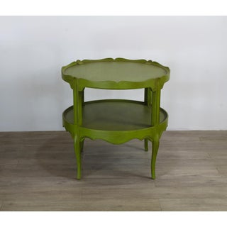 Vintage 2-Tiered Scalloped Side Tables - a Pair, Antique Green Side Tables Preview