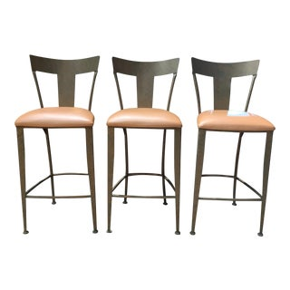 Shaver Howard Barstools Painted Finish Peach Pearl Leather - 3 Pieces For Sale