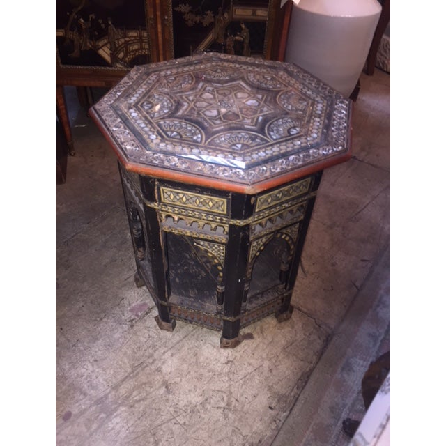 Vintage Moroccan Octagon Mother of Pearl Inlay Table For Sale - Image 10 of 10