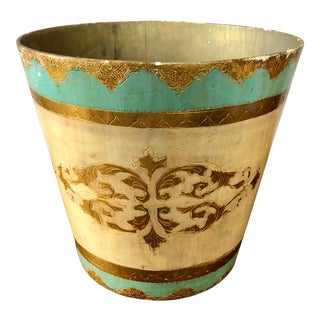 Vintage Turquoise Gold Florentine Wastebasket For Sale