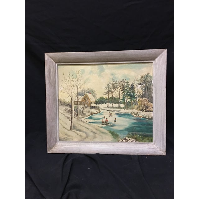Offered is an oil on board painting by Bertha Davis. Signed lower left in the grandma Moses naïve style of painting.