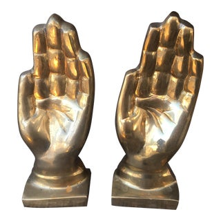 Mid-Century Modern Brass Hand Bookends - A Pair