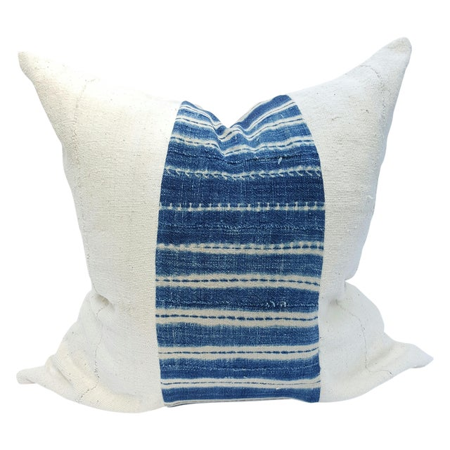 African Mud Cloth White and Blue Striped Pillow - Image 1 of 4