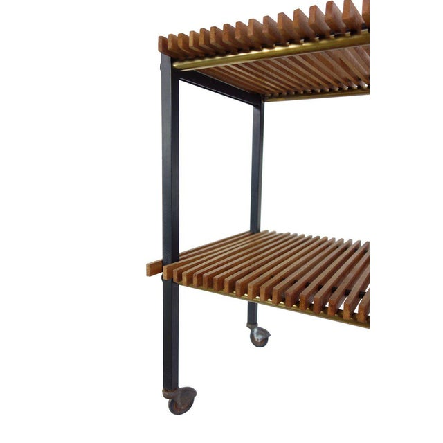 Mid Century Italian Wood Slat and Glass Console - Image 6 of 7