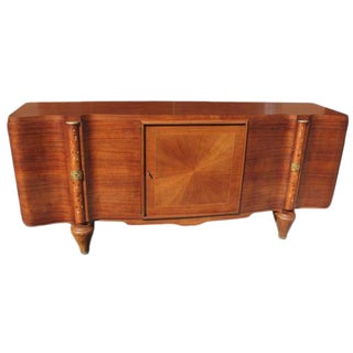 French Art Deco Sideboard / Buffet Jules Leleu Palisander Mother of Pearl Inlaid Circa 1940s For Sale