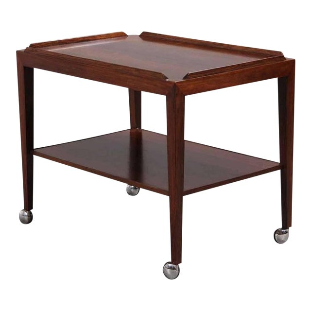Rosewood Side Table on Wheels by Haslev, 1960s For Sale