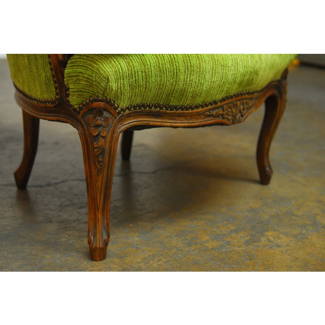 Louis XV Carved Chartreuse Velvet Bergeres - Pair - Image 8 of 8