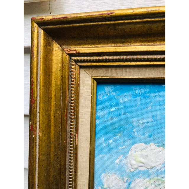 Vintage Sailboat Ocean 3d Art Painting Signed in Antique Gold Frame For Sale - Image 10 of 13