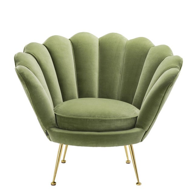 Green Modern Trapezium Green Shell Shaped Chair For Sale - Image 8 of 8