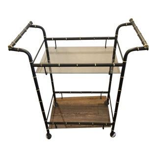 Hollywood Regency Faux Bamboo Black & Gold Vintage Bar Cart For Sale