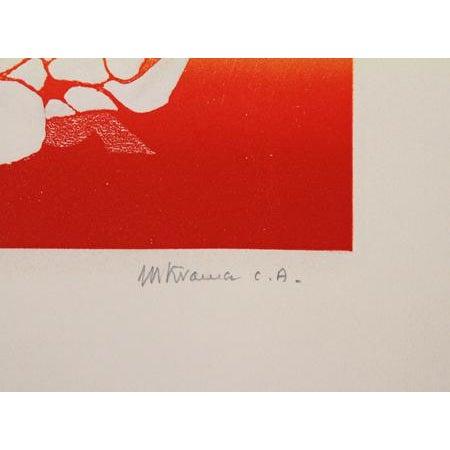 Artist: Mireille Kramer, Egyptian/American (1932 - ) Title: Birds, Rainbow V Year: circa 1980 Medium: Aquatint Etching,...