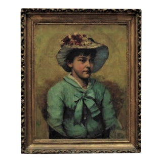 19th Century Antique Victorian Charles Knighton Warren Portrait Oil on Canvas Painting For Sale