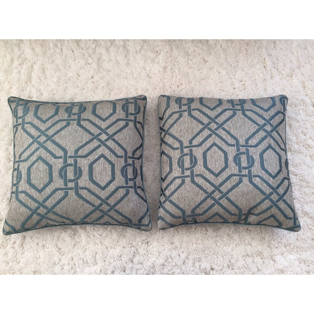 Custom Aqua Blue Geometric Pillows - A Pair - Image 2 of 3