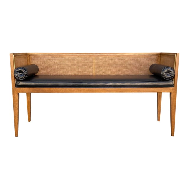 Danish Style Black Leather Bench For Sale
