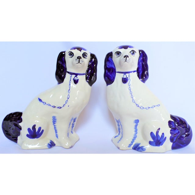 Vintage Blue and White Ceramic Staffordshire Dogs - a Pair For Sale - Image 11 of 11
