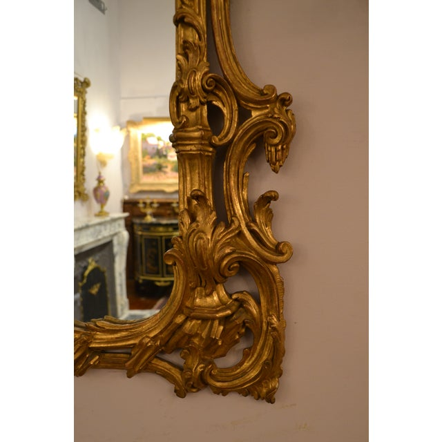 Antique French 19th Century Rococo Gold Leaf Mirror