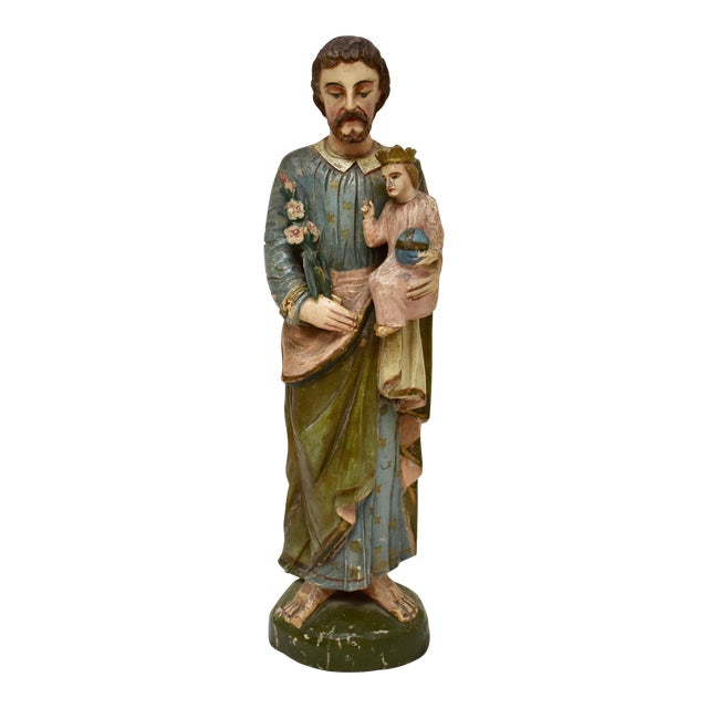Hand-Carved Wooden Sculpture of Saint Joseph and the Christ Child For Sale