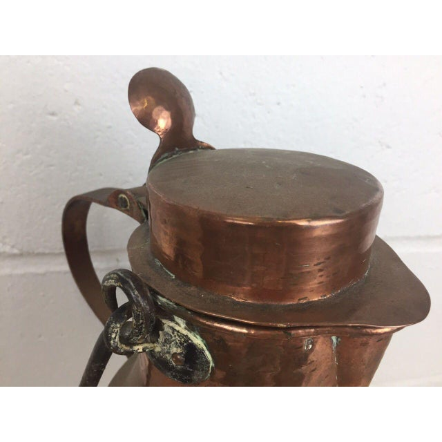 19th Century Copper Handmade Lidded Coffee Tea Pot - Image 7 of 10