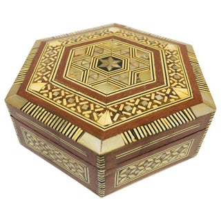 Syrian Middle Eastern Handcrafted Octagonal Mother of Pearl Inlaid Box Preview