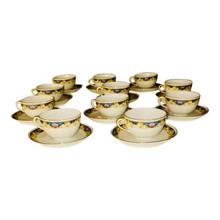 Antique 1920s Teacups & Saucers - Set of 11 For Sale