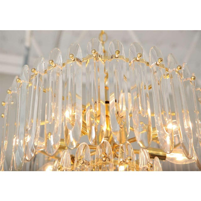 """1960s Two-Tiered """"Knife-Blade"""" Crystal Chandelier by Gaetano Sciolari For Sale - Image 5 of 5"""