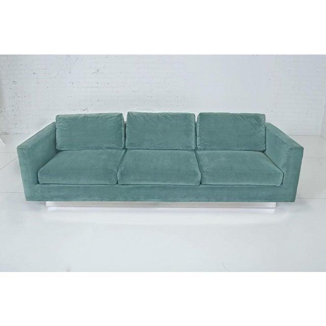 1960s Dunbar Velvet Tuxedo Sofa on Chrome Base, Edward Wormley For Sale - Image 9 of 9
