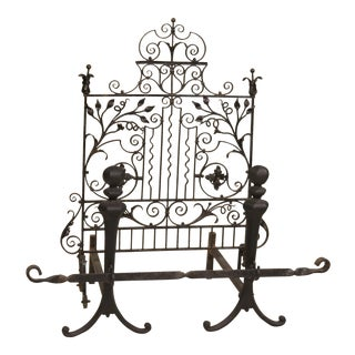19th Century Victorian Wrought-Iron Firescreen For Sale