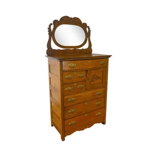 Antique Victorian Oak Bonnet Tall Chest With Mirror For Sale