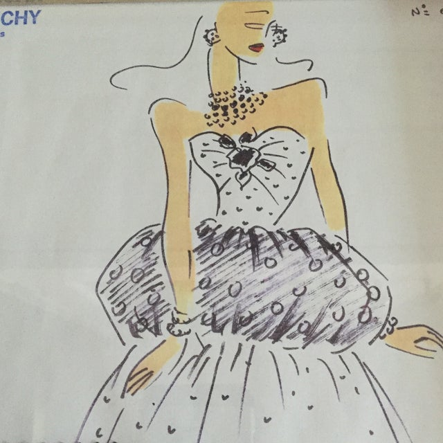 Framed Givenchy Croquis of a Polka Dot Gown - Image 2 of 4