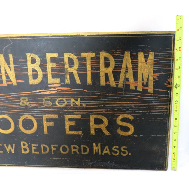 Antique Wood New Bedford Mass. Roofers Sign For Sale - Image 12 of 13
