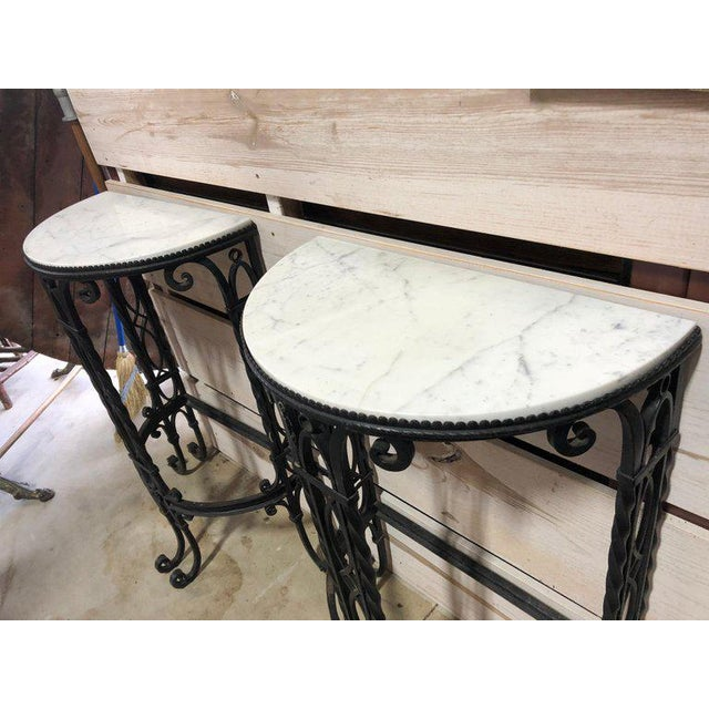 French 19th Century French Demilune Iron and Marble Tables - a Pair For Sale - Image 3 of 9