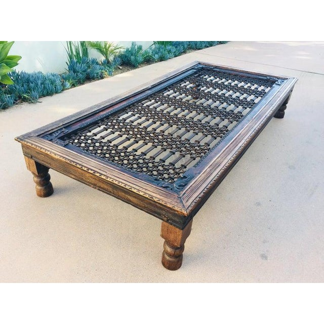 Teak Wood Large Coffee Table With Iron Inset Jali Work For Sale - Image 13 of 13
