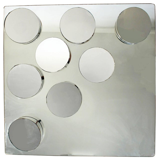 Silver Mid-Century Modern John Leslie Sculptural Hanging Mounted Art Mirror, 1970s For Sale - Image 8 of 8