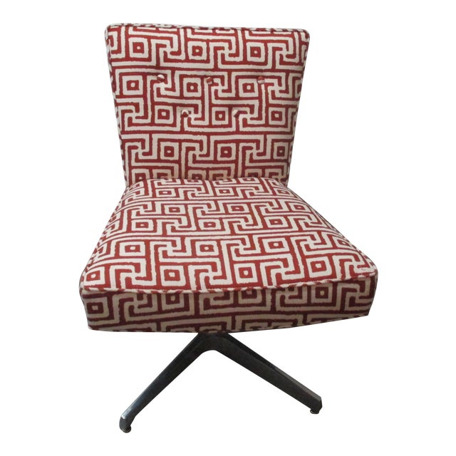 Mitchell Gold + Bob Williams Red and Natural Swivel Armless Upholstered Chair For Sale