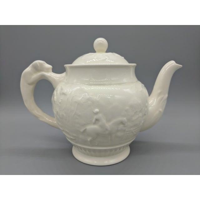 Wedgwood Vintage English Wedgewood Ivory Tea Set - Set of 3 - Horse and Dog Motif For Sale - Image 4 of 11