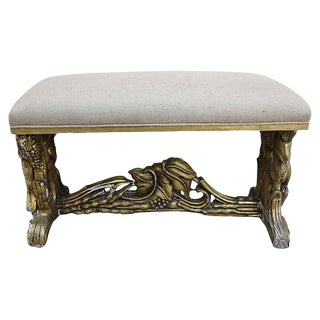 Carved Giltwood & Burlap Bench For Sale