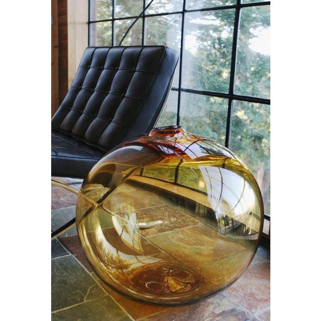 """SkLO SkLO Float Glass Vessel 8"""" - Amber For Sale - Image 4 of 10"""